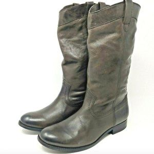 Frye Women's Melissa Tall Gray/Brown Leather Boots